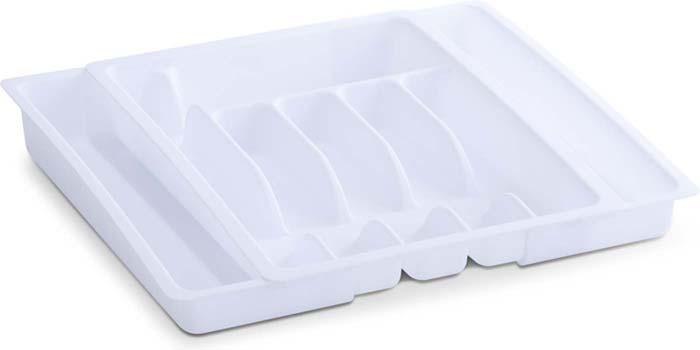 Подставка для столовых приборов Zeller, раздвижной, цвет: белый, 28-48 х 38 х 6,5 см подставка для столовых приборов kesperd с ручками цвет коричневый 38 х 32 х 4 см