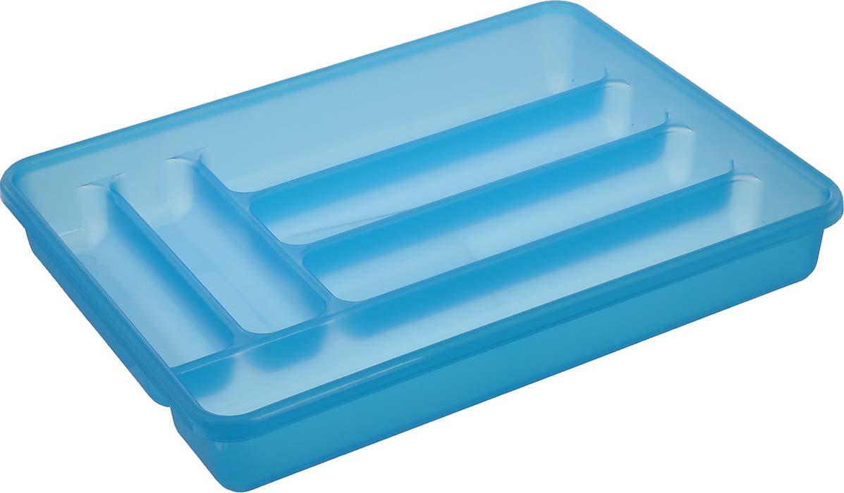 Лоток для столовых приборов Cosmoplast, 6 отделений, цвет: голубой