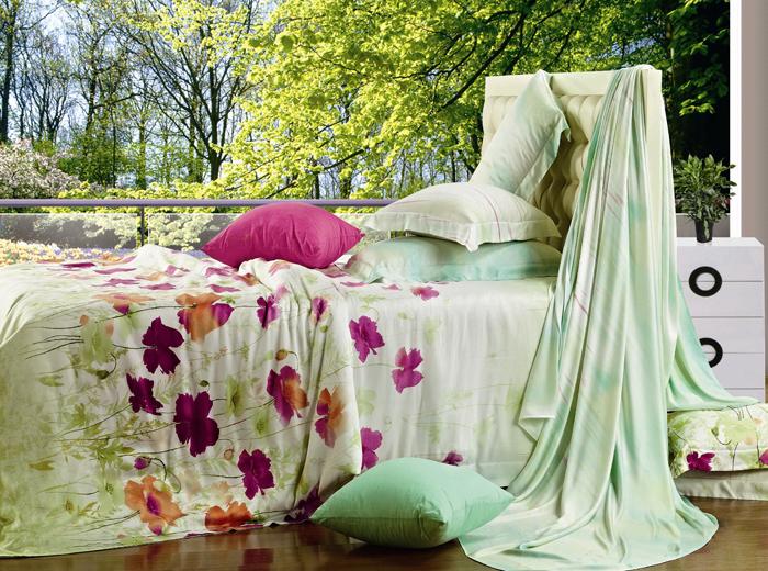 """Комплект белья СайлиД """"Е-36"""", евро, наволочки 50x70, 70x70, цвет: бежевый, зеленый"""