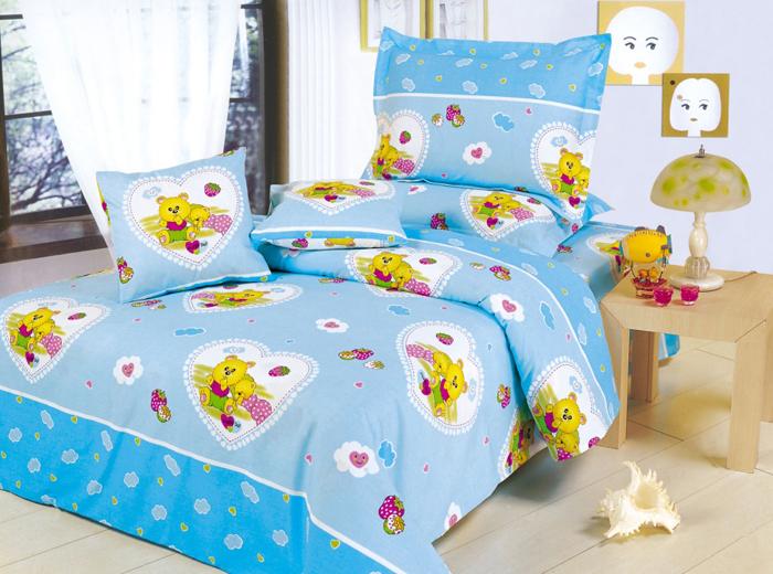 """Комплект детского белья СайлиД """"Happy"""", 1,5-спальный, наволочки 40x40, 50x70, цвет: голубой, белый, розовый"""