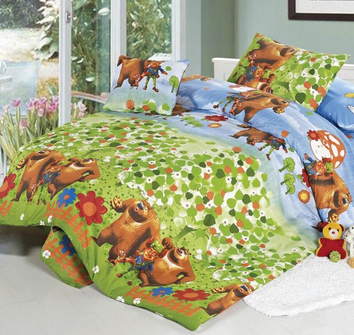 """Комплект детского белья СайлиД """"Bears"""", 1,5-спальный, наволочки 40x40, 50x70, цвет: зеленый"""