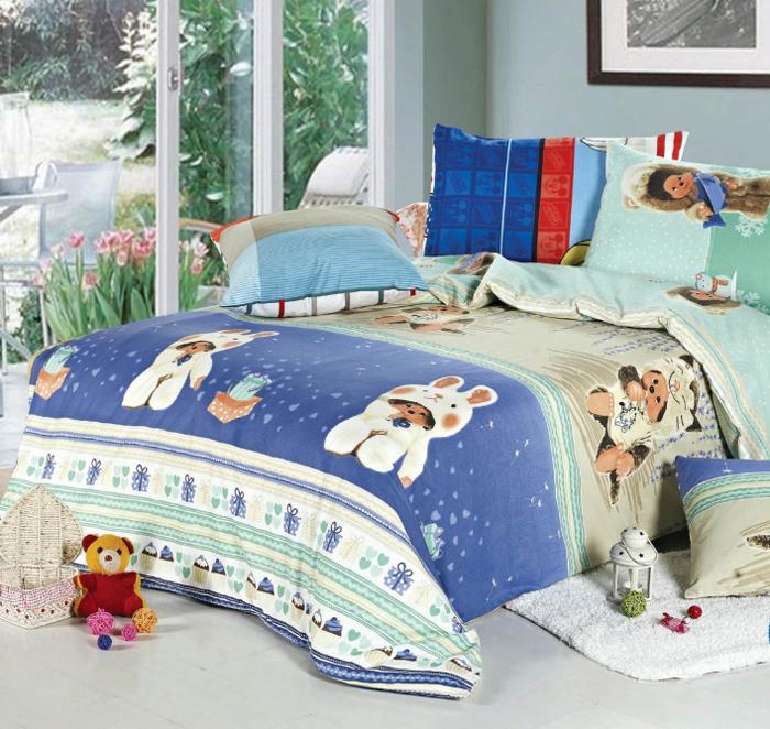 """Комплект детского белья СайлиД """"Fun"""", 1,5-спальный, наволочки 40x40, 50x70, цвет: синий"""