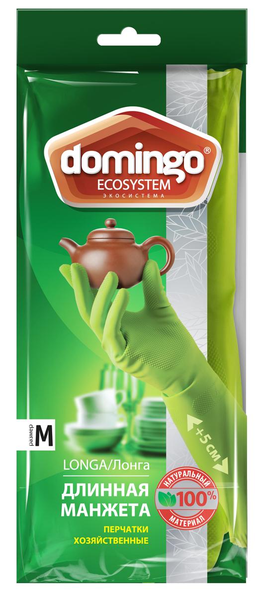 Перчатки хозяйственные Доминго, с хлопковым напылением, цвет: зеленый. Размер M