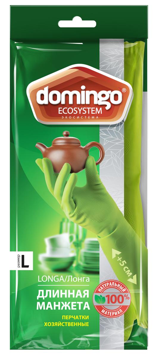 Перчатки хозяйственные Доминго, с хлопковым напылением, цвет: зеленый. Размер L перчатки хозяйственные доминго с хлопковым напылением цвет зеленый размер m