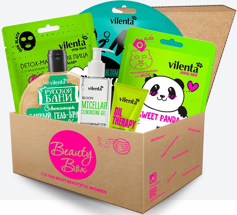 Vilenta Набор Бьюти Бокс Greenmania (гель-бражка, 300 мл + мицеллярный гель для снятия макияжа, 200 мл + маска для лица, 5 шт), 680 мл vilenta beauty box musthave 450 мл
