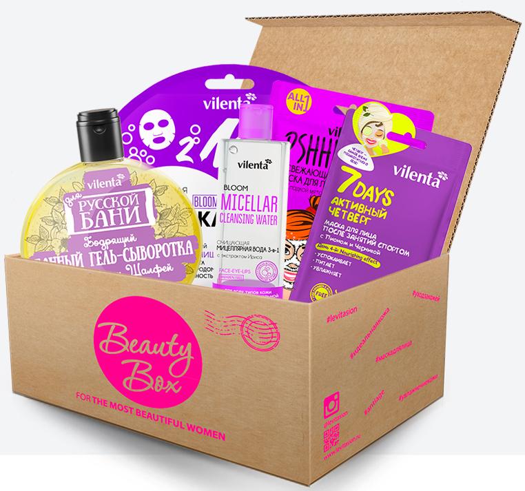 Vilenta Набор Бьюти Бокс Purplemania (банный гель-сыворотка, 300 + мицеллярная вода для снятия макияжа, 200 мл + маска для лица, 3 шт), 580 мл vilenta beauty box musthave 450 мл