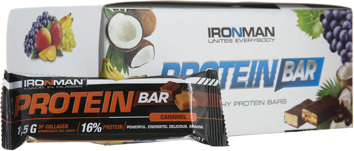 Фото - Батончик энергетический Ironman Protein Bar, с коллагеном, карамель, темная глазурь, 50 г х 24 шт батончик протеиновый ironman protein bar с коллагеном карамель темная глазурь 50 г 6 шт