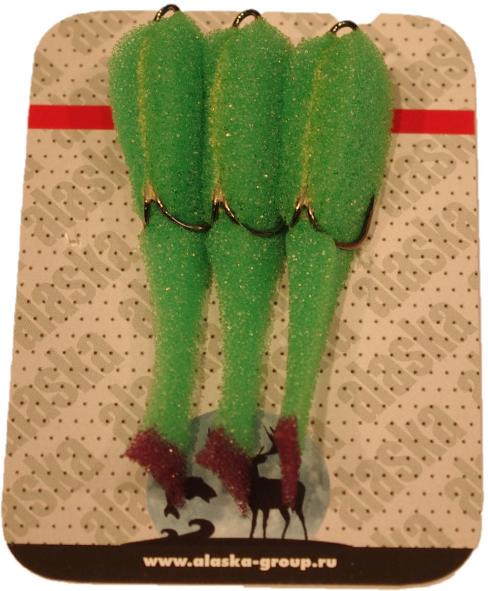 Приманка Alaska Group, поролоновая, цвет: зеленый, 6,5 см, 3 шт