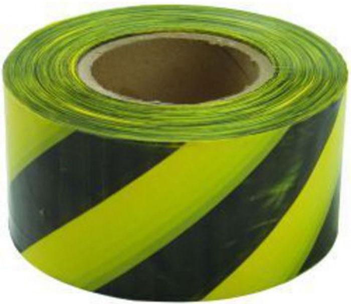 Лента сигнальная Fit, цвет: черно-желтый, 50 мм х 100 м сигнальная лента зубр мастер цвет красно белый 75мм х 200м