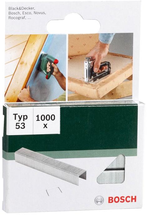 Скобы Bosch для строительного степлера, тип T53, 8 мм, 1000 шт2609255820Скобы для степлера Bosch 10 мм тип 53 - отличный выбор и будет достойной покупкой. Скобы для степлеров делаются из оцинкованной проволоки. Рекомендуем!