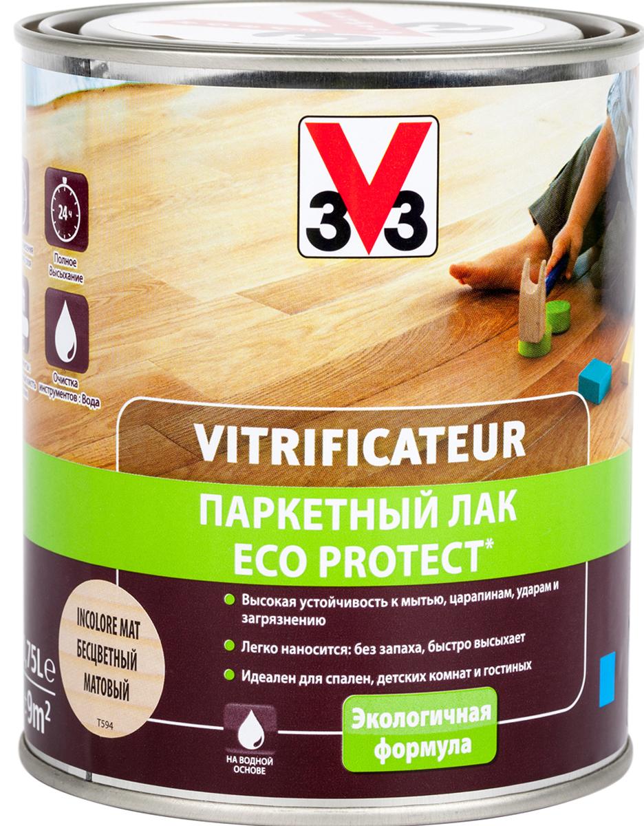 Лак паркетный V33 Eco Protect, матовый, цвет: бесцветный, 750 мл лак паркетный рогнеда eurotex эко полуматовый 5л