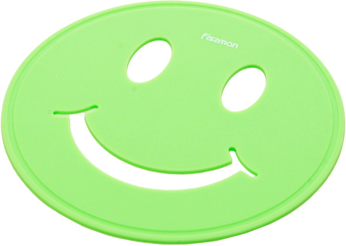 Подставка под горячее Fissman Улыбка, цвет: зеленый, 17 х 17 х 0,5 см подставка под горячее paterra силиконовая цвет малиновый 17 5 х 17 5 см