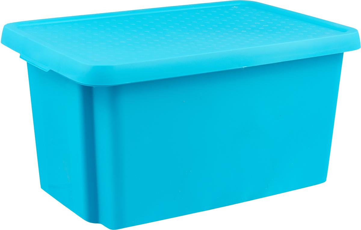 Коробка для хранения Curver Essentials, с крышкой, цвет: бирюзовый, 45 л цена