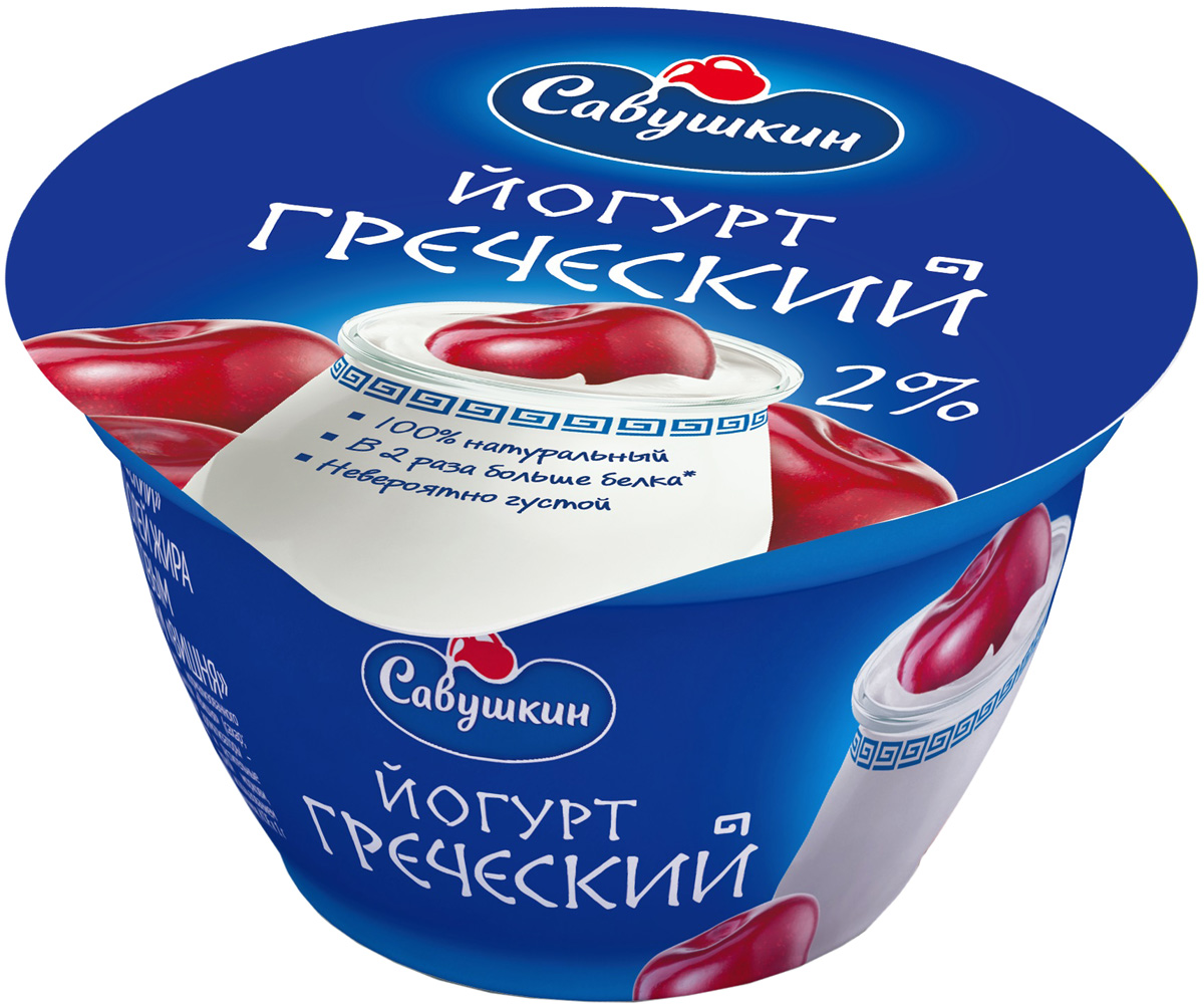 Савушкин Йогурт Греческий Вишня 2%, 140 г