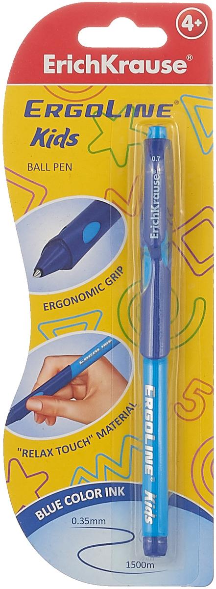 лучшая цена Ручка шариковая ErichKrause ErgoLine Kids Ultra Glide Technology, цвет чернил синий, цвет корпуса голубой, синий
