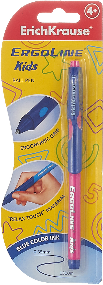 Ручка шариковая ErichKrause ErgoLine Kids, Ultra Glide Technology, цвет чернил синий, цвет корпуса розовый, синий bic ручка шариковая kids twist цвет корпуса розовый