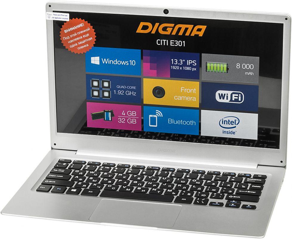 "Ноутбук Digma CITI E301, ES3008EW, 13.3"", серебристый"