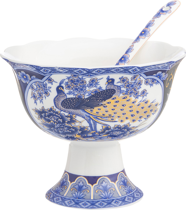 Креманка Elan Gallery Павлин синий, с ложкой, диаметр 10,5 см