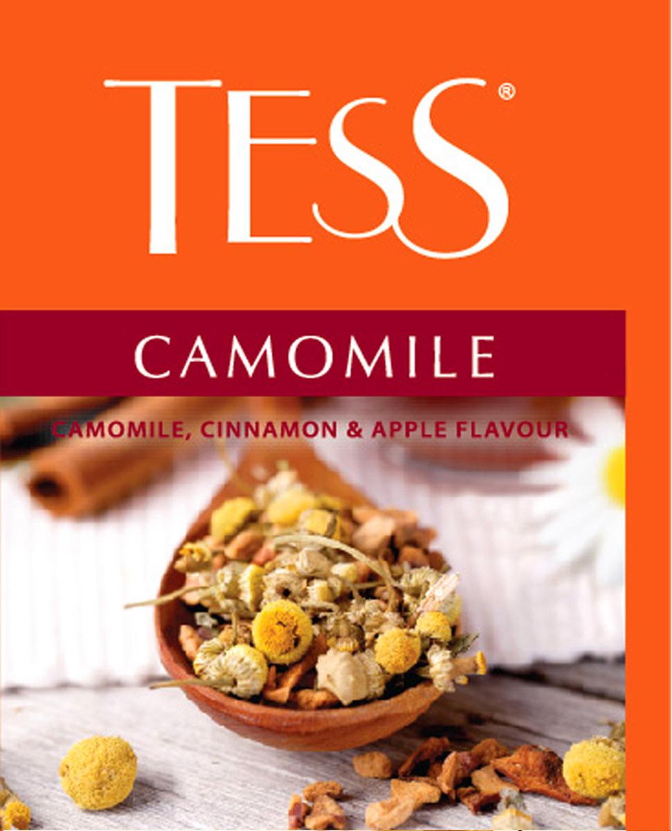Tess Camomile чайный напиток в пакетиках, 100 шт1187-10Травяной чай на основе ромашки со вкусом и ароматом яблока с корицей.Сладковатый оттенок сушеных яблок дополняет естественный вкус ромашки, а корица вносит приятную остроту в натуральную композицию травяного чая.