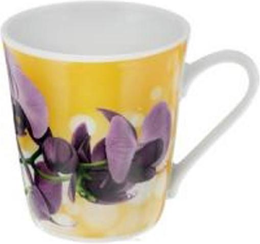 Кружка Добрушский фарфоровый завод Классик. Орхидея, цвет: желтый, фиолетовый, 300 мл кружка классик кошки 300 мл