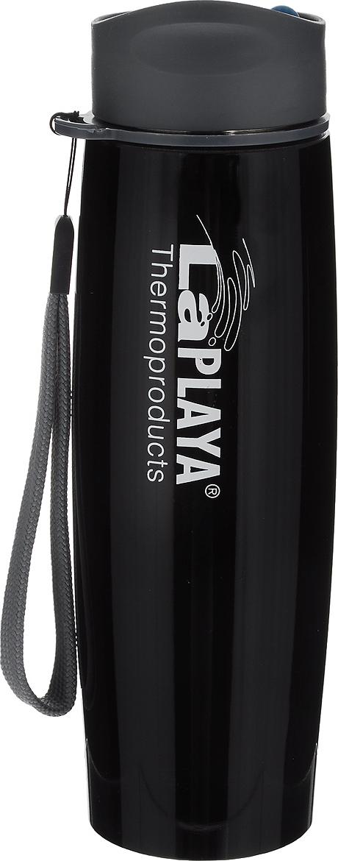 Кружка-термос LaPlaya Thermo Mug SS Strap, цвет: черный, 0,5 л560061Вакуумная кружка-термос LaPlaya Thermo Mug SS Strap изготовлена из высококачественной нержавеющей стали 18/8. Позволяет сохранять холод до 24 часов, а тепло до 6 часов. Имеет систему быстрого открывания для легкого питья, для этого нужно просто повернуть клапан на крышке. Кружка абсолютно герметична, поэтому можно не переживать, что содержимое выльется. Имеется удобный ремешок для переноски. Кружка очень компактная, подходит к большинству автомобильных подстаканников. Основание прорезиненное. Такую кружку можно взять с собой куда угодно: на работу, учебу, тренировку, пикник, в путешествие, поход. Она всегда будет с вами и позволит насладиться вашим любимым напитком, где бы вы ни были. Рекомендуем!