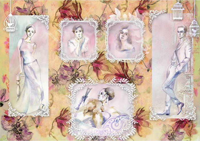 """Рисовая бумага для декупажа Craft Premier """"Акварельные портреты"""", формат А3"""