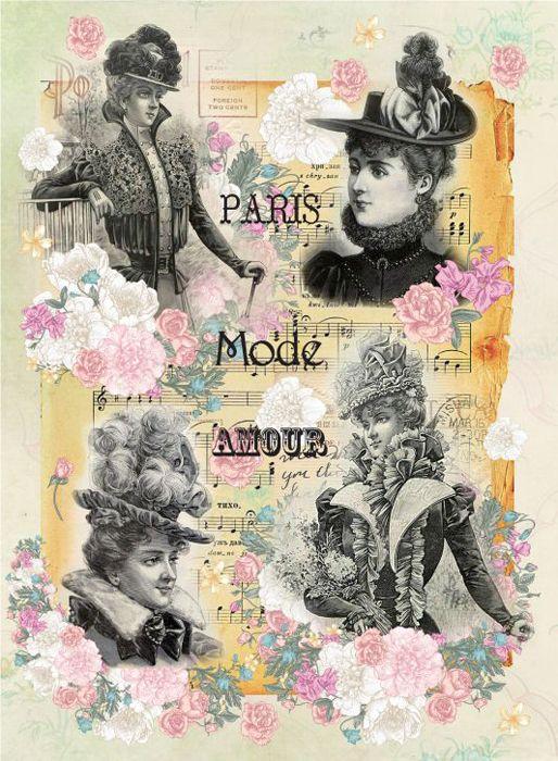 Рисовая бумага для декупажа Craft Premier Дамы Парижа, формат А3 рисовая бумага для декупажа craft premier шебби розы a3