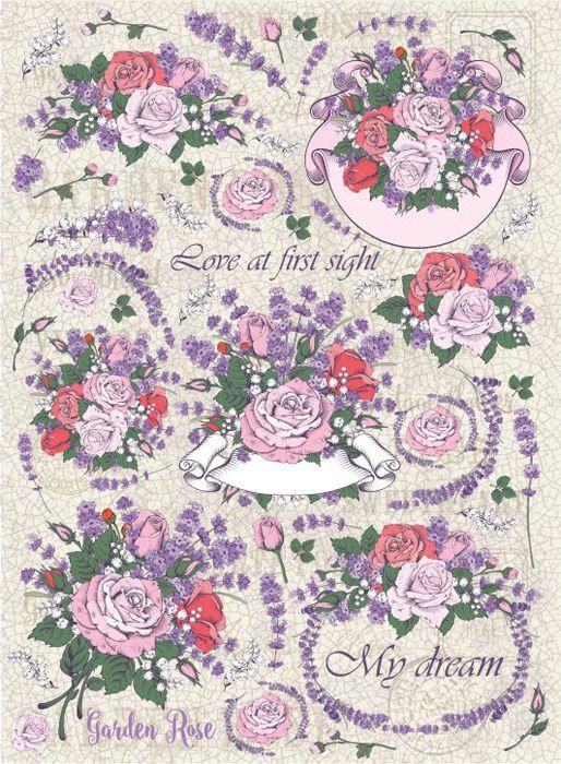 Рисовая бумага для декупажа Craft Premier Сад из роз, формат А3 рисовая бумага для декупажа craft premier шебби розы a3