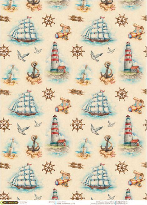 Рисовая бумага для декупажа Craft Premier Мореплавание, формат А3 рисовая бумага для декупажа craft premier шебби розы a3