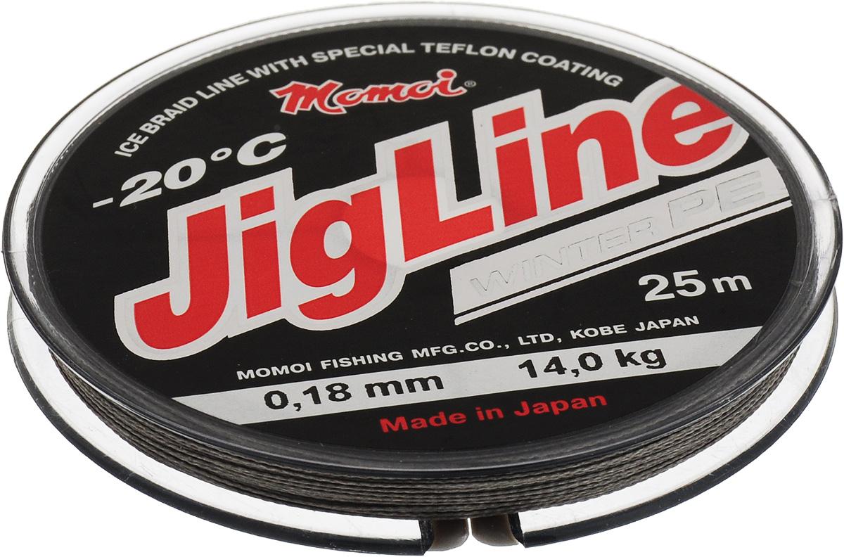 Шнур плетеный Momoi Fishing JigLine Winter, зимний, цвет: хаки, 0,18 мм, 14 кг, 25 м