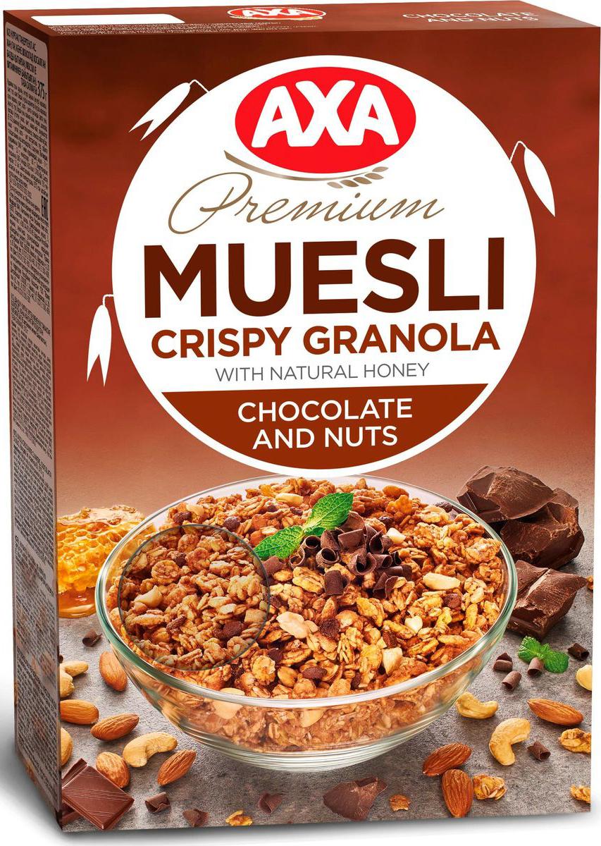 АХА мюсли хрустящие в меду с шоколадом и орехами, 250 гбйт021Мюсли АХА - залог красоты и удачного дня! Все, что вы любите! Полезные злаки, кусочки шоколада, мед и натуральные орехи для вкусного завтрака. AXA - максимум удовольствия и пользы каждый день!