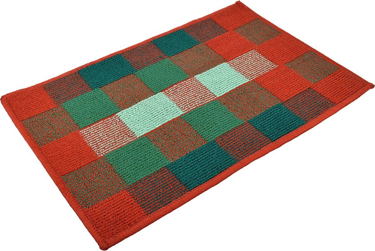 Коврик придверный Vortex Palermo, цвет: кирпичный, зеленый, 40 х 60 см. 22453 коврик придверный vortex spark цвет синий 40 х 60 см 22353