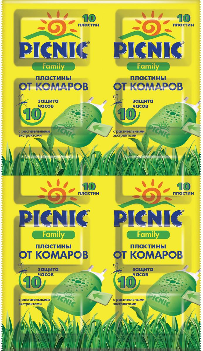 Пластины от комаров Picnic Family, 10 шт46 00104 02306 4 *Пластины подходят для всех членов семьи, для взрослых и детей (с 5 лет) и гарантированно защитят от комаров на протяжении всей ночи. Средство идеально подходит для людей с чувствительной кожей, а также содержит растительные экстракты и не имеет запаха. Время действия 1 пластины — 10 часов.