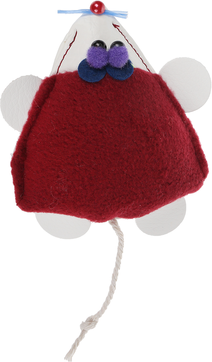 """Игрушка для кошек GLG """"Мышка-норушка"""", цвет:бордовый, 7 х 14 х 2,5 см"""