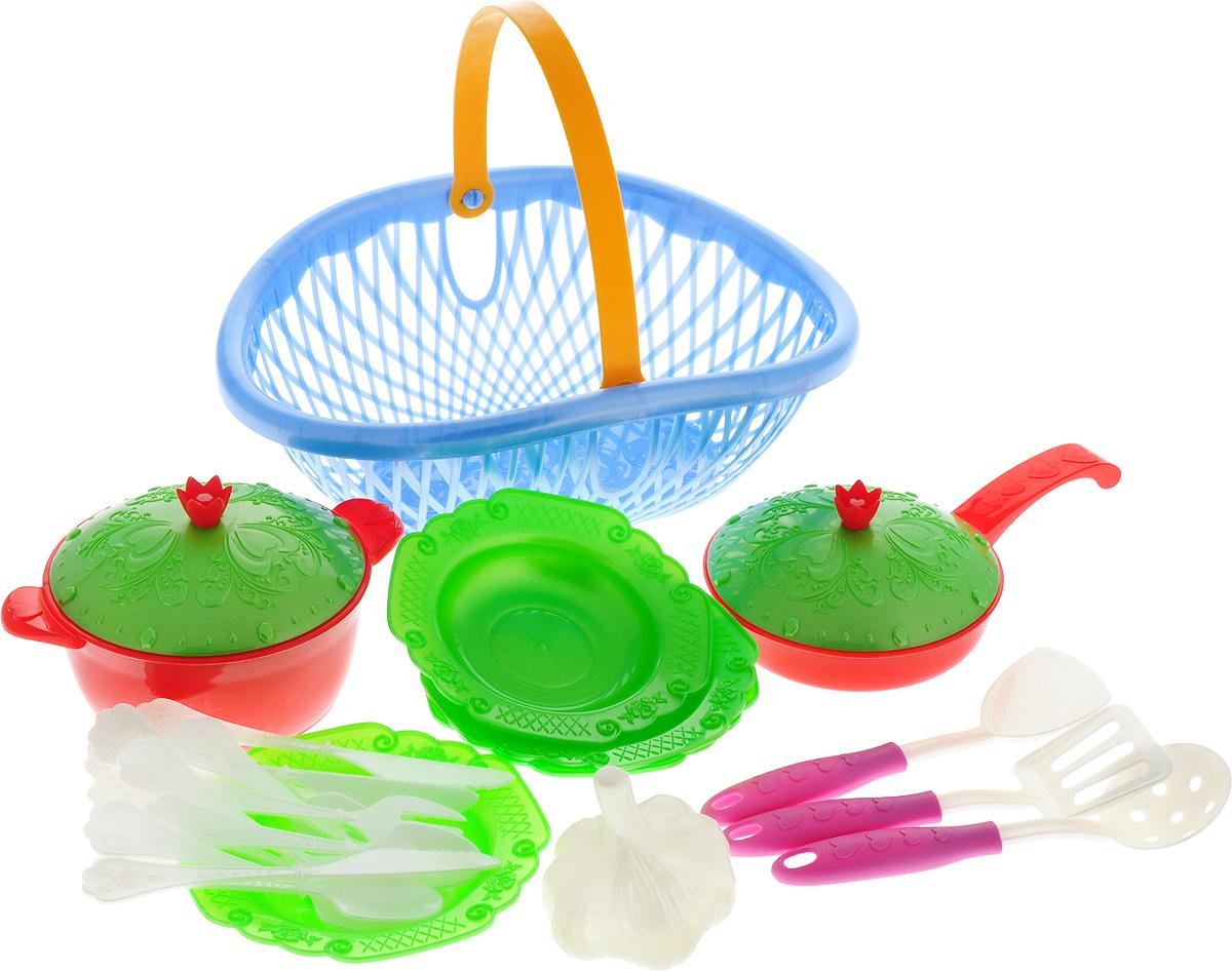 Нордпласт Игрушечный набор посуды Кухонный сервиз Волшебная хозяюшка цвет голубой зеленый песочный набор нордпласт снеговик 12