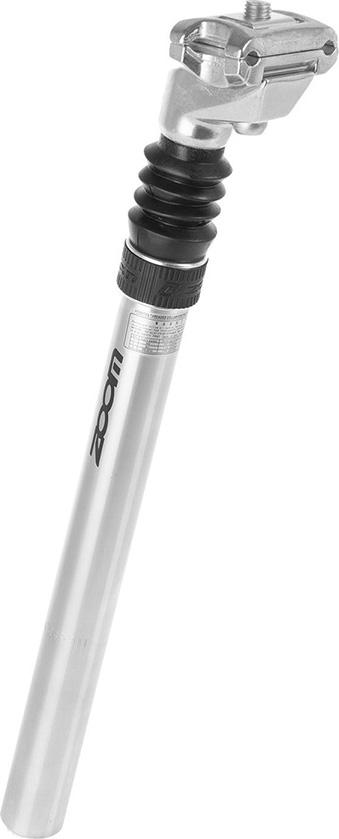 Штырь подседельный Zoom с амортизатором алюминиевый, D-25,4 мм, L-350 мм, ход-40 мм, серебристый