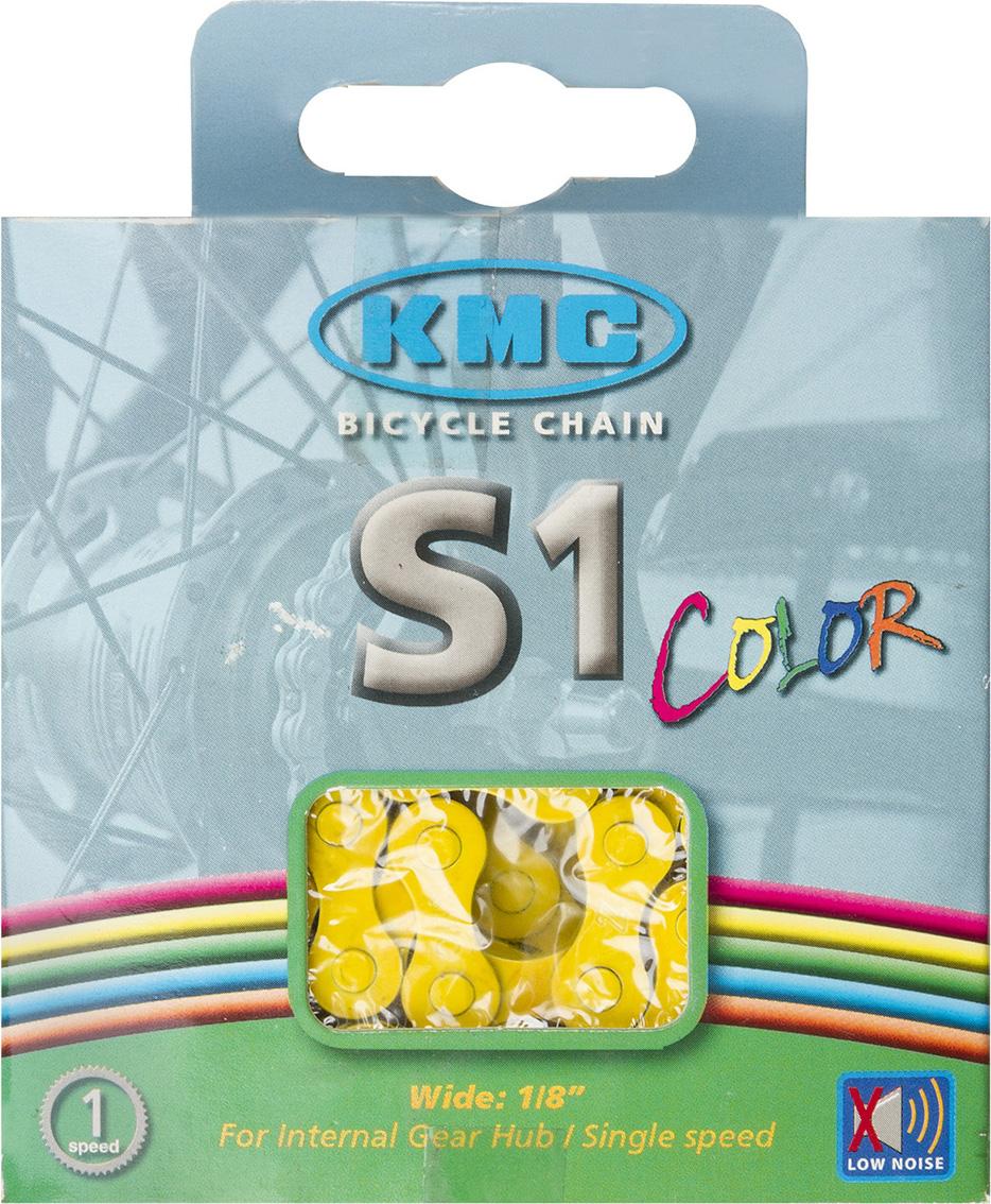 Цепь велосипедная KMC S1 Color, 1ск, 1/2x1/8, 112 звеньев, 8,6 мм, с замком, желтый300214 -Цепь KMC S1 Color Для односкоростных дорожных велосипедов, BMX, синглспид, фиксеров. Размер звена: 1/2x1/8 112 звеньев Толщина пина 8,6 мм Велоцепь поставляется с замком в индивидуальной упаковке Цвет: желтый.