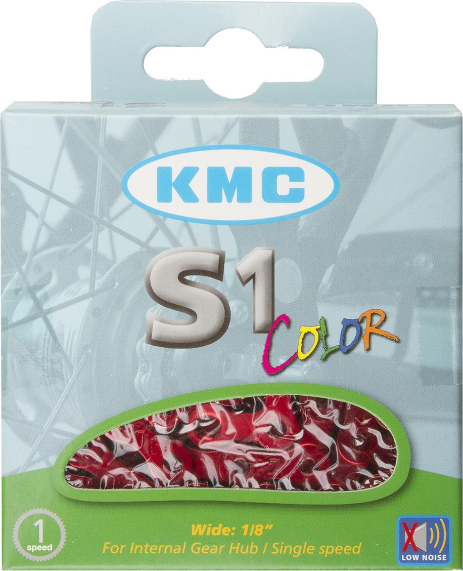 """Цепь велосипедная KMC S1 Color, 1ск, 1/2""""x1/8"""", 112 звеньев, 8,6 мм, с замком, красный"""