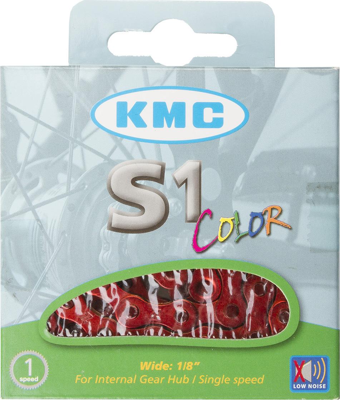 Цепь велосипедная KMC S1 Color, 1/2x1/8, 112 звеньев, 8,66 мм, с замком, оранжевый цепь велосипедная кмс z 51 rb 7 1 мм 1 2x3 32 116 звеньев для alivio acera altus silver с замком