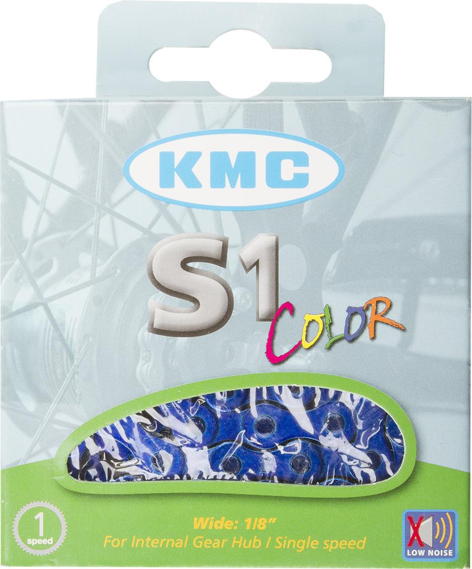 Цепь велосипедная KMC S1 Color, 1ск, 1/2x1/8, 112 звеньев, 8,6 мм, с замком, синий цепь велосипедная кмс z 51 rb 7 1 мм 1 2x3 32 116 звеньев для alivio acera altus silver с замком
