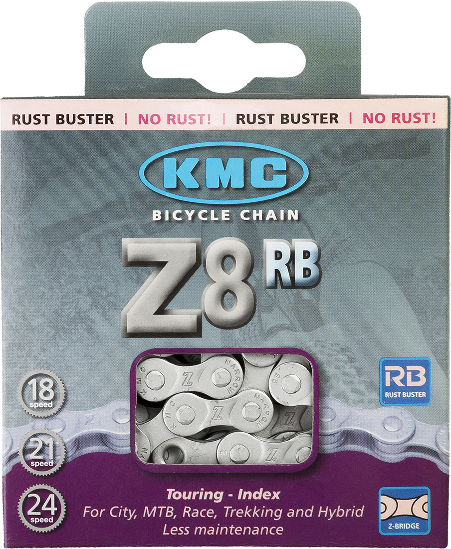 Цепь велосипедная КМС Z8 RB (Z51 RB), 18-24 скор.,116 звеньев, 1/2x3/32, 7.1мм, серебристый цепь велосипедная кмс z 51 rb 7 1 мм 1 2x3 32 116 звеньев для alivio acera altus silver с замком