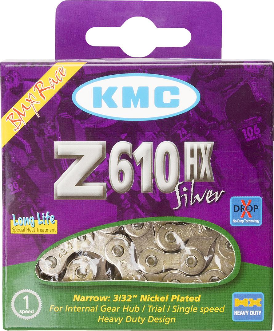 Цепь велосипедная KMC Z610HX, 1/2x3/32, 112 звеньев, 7.8 мм, для BMX, разрыв 1200 кг цепь велосипедная кмс z 51 rb 7 1 мм 1 2x3 32 116 звеньев для alivio acera altus silver с замком
