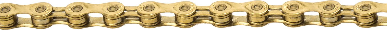 Цепь КМС Х9L-GOLD, на 9 скоростей, 1/2x11/128, 112 звеньев, 274 гр, Shimano/Campagnolo/SRAM, с замком в индивидуальной упаковке. цепь kmc z50 112