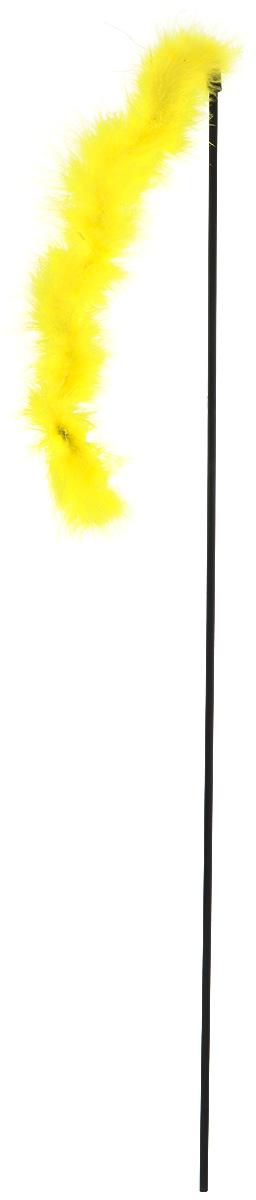 Игрушка-дразнилка для кошек GLG Боа с бубенчиками, цвет: желтый, длина 60 см игрушка дразнилка для кошек gosi лапка норки длина 50 см