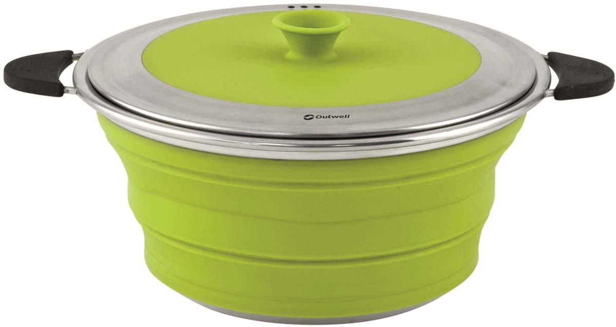 Кастрюля складная Outwell Collaps Pot with Lid M Lime Gre, цвет: зеленый, 2,5 л