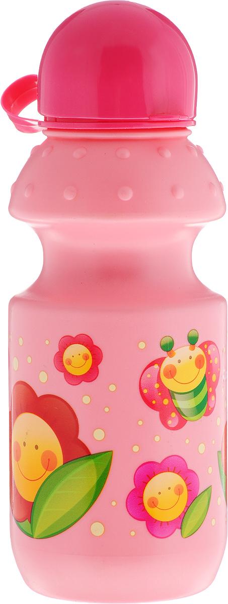 Canpol Babies Поильник спортивный от 12 месяцев цвет розовый бабочка и цветы 360 мл