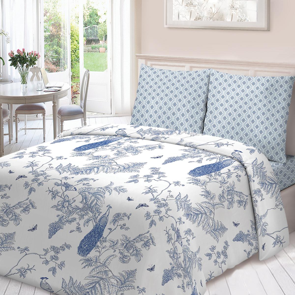 """Комплект белья Для Снов """"Жуи"""", 2-спальный, наволочки 70х70, цвет: голубой"""
