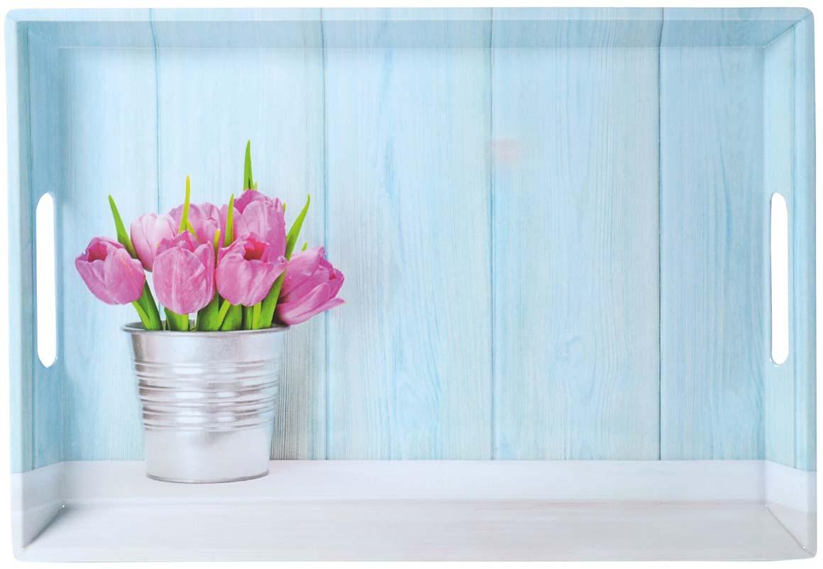 """Поднос Kesper """"Тюльпаны"""", цвет: голубой, 50 х 35 х 4,5 см"""