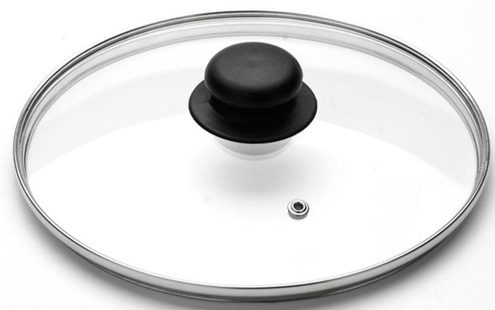 Крышка стеклянная VGP. Диаметр 22 см. 47224722Крышка с пластиковой ручкой изготовлена из прочного закаленного стекла, устойчивого к влиянию высокой температуры. Стальной ободок по периметру крышки защищает ее от ударов и деформации, сохраняя целостность изделия. Ручка крышки имеет удобную форму, она выполнена из качественного термостойкого пластика, который не нагревается в процессе приготовления пищи и не обжигает руки. Изделие имеет небольшое круглое отверстие для вывода пара. Крышка предназначается для сотейников, кастрюль и сковород, диаметр которых равен диаметру крышки. Перед первым использованием вымойте крышку теплой водой с моющими средствами. Не ставьте посуду, накрытую крышкой с пластмассовой ручкой, в духовку или микроволновую печь. Подходит для мытья в посудомоечной машине.