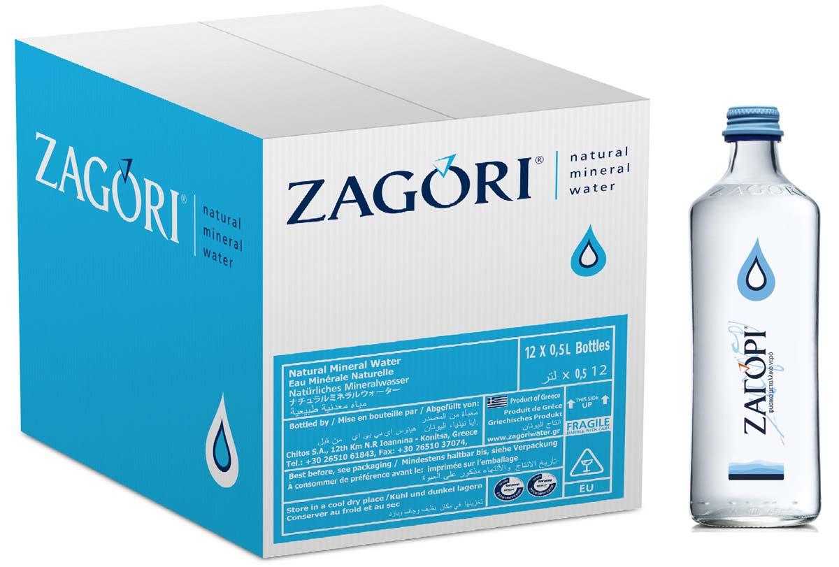 Zagori Вода природная минеральная столовая негазированная, 12 шт по 0,5 л стекло
